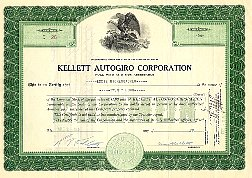 Kellet Autogiro Corporation Stock Certificate