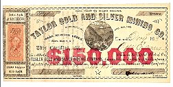 Taylor Gold and Silver Mining Co stock certificate